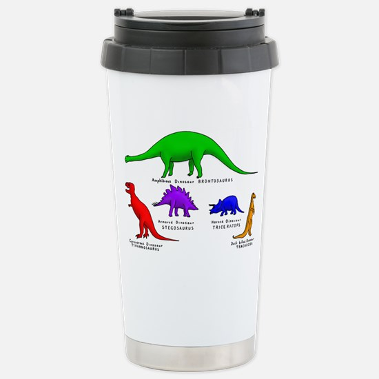 Colored Dinos Stainless Steel Travel Mug