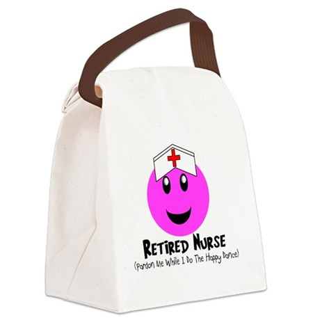Retired Nurse PINK SMILEY HAPPY D Canvas Lunch Bag