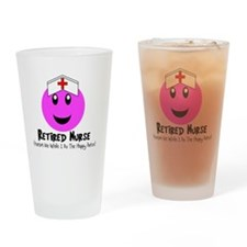 Retired Nurse PINK SMILEY HAPPY DAN Drinking Glass