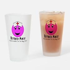 Retired Nurse PINK SMILEY HAPPY DAN Drinking Glass