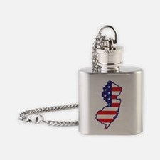 newjersey_state_flag_map1 Flask Necklace
