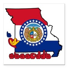 "MOstateFlagILY Square Car Magnet 3"" x 3"""
