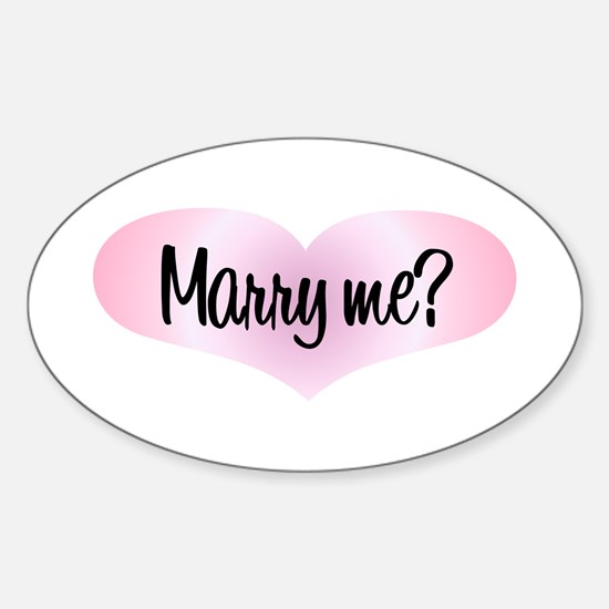Marry Me? Pink Heart Oval Decal