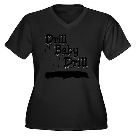 Drill baby D Women's Plus Size Dark V-Neck T-Shirt