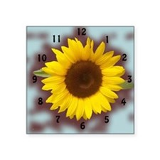 "sunflower wall clock2 Square Sticker 3"" x 3"""
