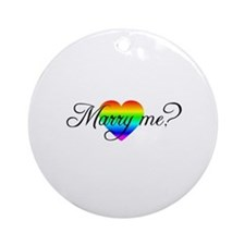 Marry Me? Rainbow Heart Ornament (Round)
