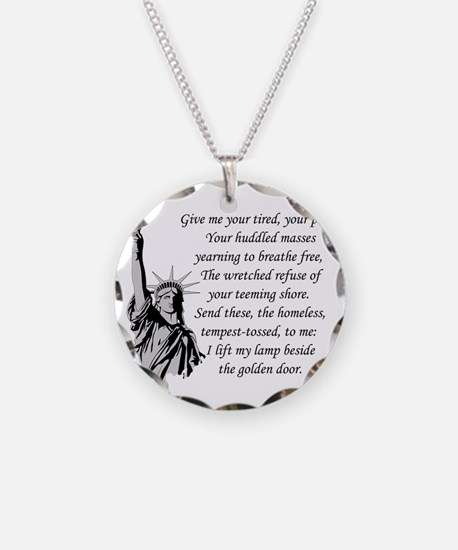 Statue-of-Liberty-quote-(whi Necklace Circle Charm