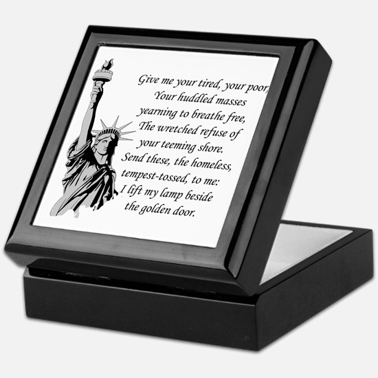 Statue-of-Liberty-quote-(white-shirt) Keepsake Box
