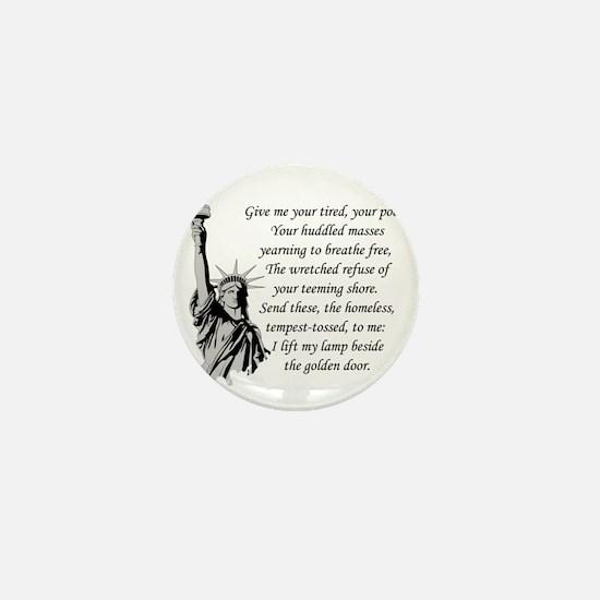 Statue-of-Liberty-quote-(white-shirt) Mini Button