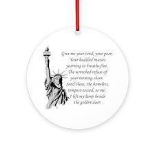 Statue-of-Liberty-quote-(white-shir Round Ornament