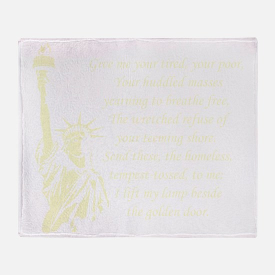 Statue-of-Liberty-quote-(black) Throw Blanket