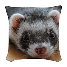 Ferret-01-11x11-DBArtPanels1 Woven Throw Pillow