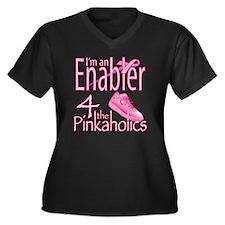 2-Pinkaholic Women's Plus Size Dark V-Neck T-Shirt