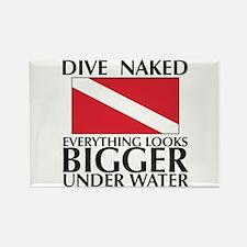 Dive Naked Rectangle Magnet