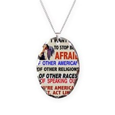 STOP BEING AFRAID Necklace Oval Charm