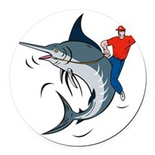 bucking marlin rodeo riding Round Car Magnet