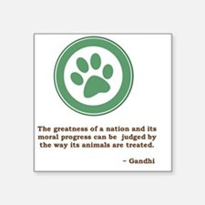 "GandhiGreenPaw Square Sticker 3"" x 3"""