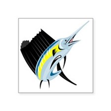 "sailfish jumping Square Sticker 3"" x 3"""