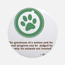 GandhiGreenPaw Round Ornament