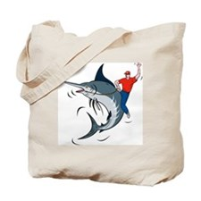 bucking marlin rodeo riding Tote Bag