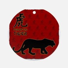 tiger_10x10_red Round Ornament