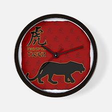 tiger_10x10_red Wall Clock