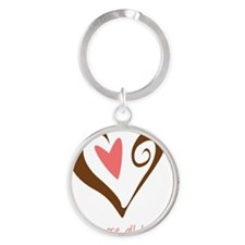 DoulaHeartBrown Round Keychain