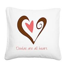 DoulaHeartBrown Square Canvas Pillow