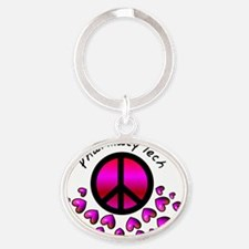 Pharmacy Tech PINK HEARTS Oval Keychain