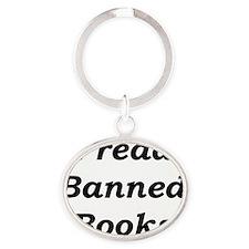 2-IreadBannedBooks Oval Keychain