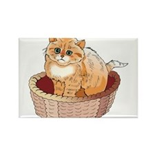 Kitten in basket Rectangle Magnet
