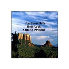 "Courthouse Butte and Bell R Square Sticker 3"" x 3"""