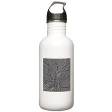Dark Grey Abstract Floral Water Bottle