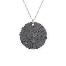 Dark Grey Abstract Floral Necklace