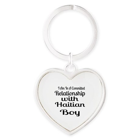 I Am In Relationship With Haitian B Heart Keychain