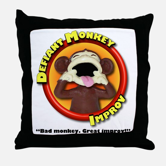 Defiant Monkey White Shirt Throw Pillow