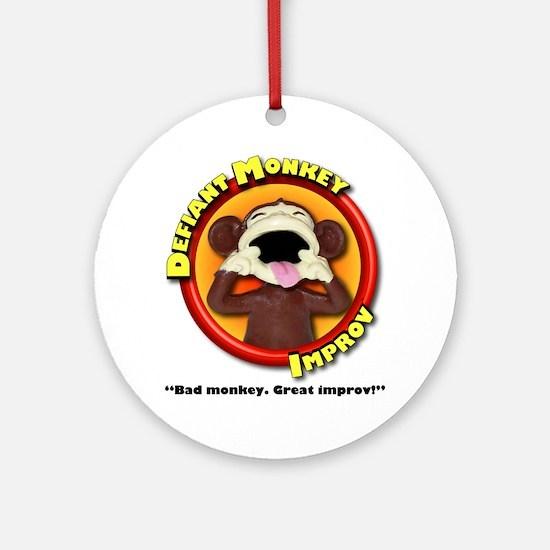 Defiant Monkey White Shirt Round Ornament