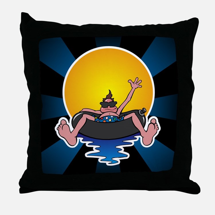 Tubing down the River Throw Pillow
