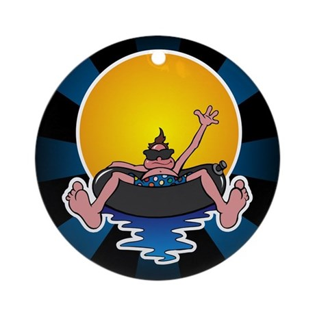 Tubing down the River Ornament (Round)