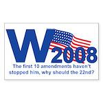 W in 2008 Joke Rectangle Sticker
