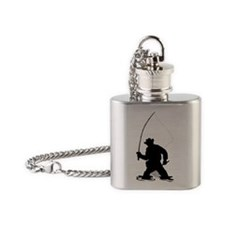 fly fisherman fishing silhouette Flask Necklace