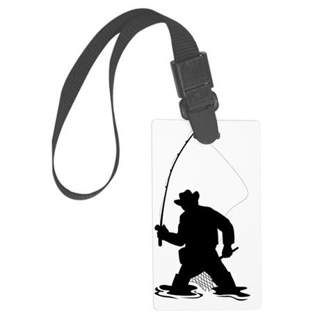 fly fisherman fishing silhouette Large Luggage Tag