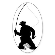 fly fisherman fishing silhouette Decal