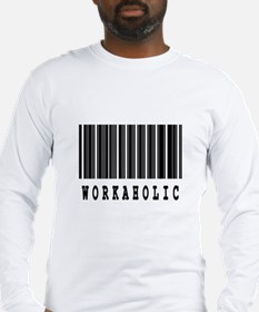 Workaholic Barcode Design Long Sleeve T-Shirt