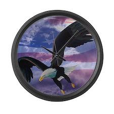 freedom eagle square 2 Large Wall Clock