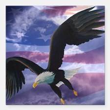 "freedom eagle square 2 Square Car Magnet 3"" x 3"""