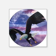 """freedom eagle round 2 Square Sticker 3"""" x 3"""""""