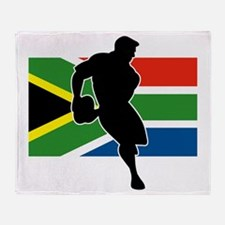 rugby player flag south africa Throw Blanket
