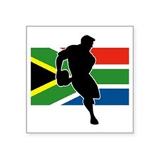 "rugby player flag south afr Square Sticker 3"" x 3"""