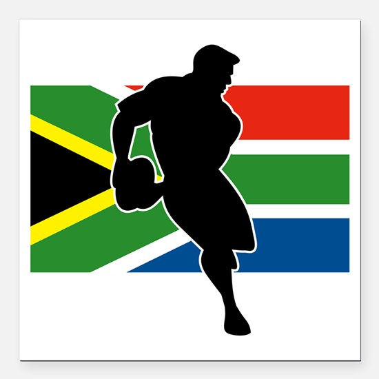 """rugby player flag south  Square Car Magnet 3"""" x 3"""""""